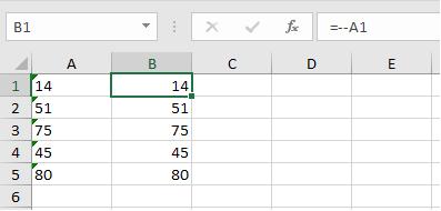 Преобразование текста в число формулой