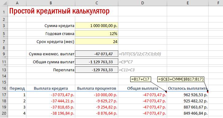 Формула расчета процентов по кредиту пример