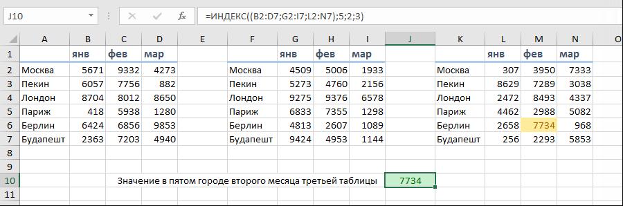 ИНДЕКС с неск.таблицами
