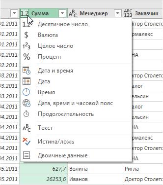 Преобразование форматов данных в столбцах