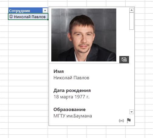 Тип данных о человеке